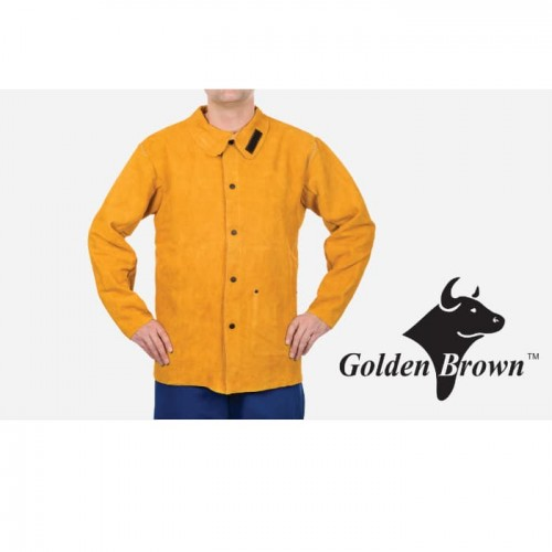 """30"""" Golden Brown Leather Welding Jacket, Small"""