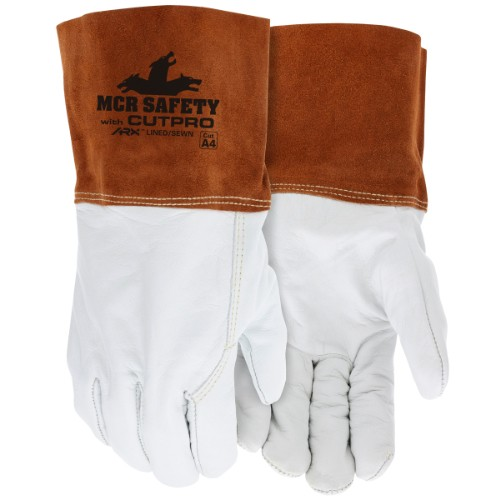 Leather Welding Work Gloves Cow Grain Leather, Cuff Lined and Sewn with ARX Cut Resistant Material, Medium