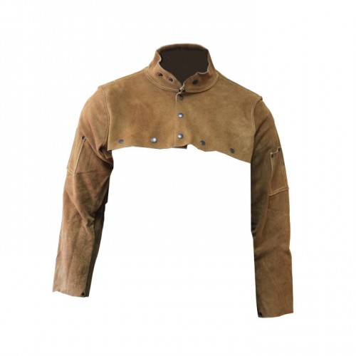 Imported Rust Split Leather Cape Sleeve, Small