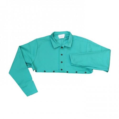 Green FR Cotton Welding Cape Sleeves, Medium