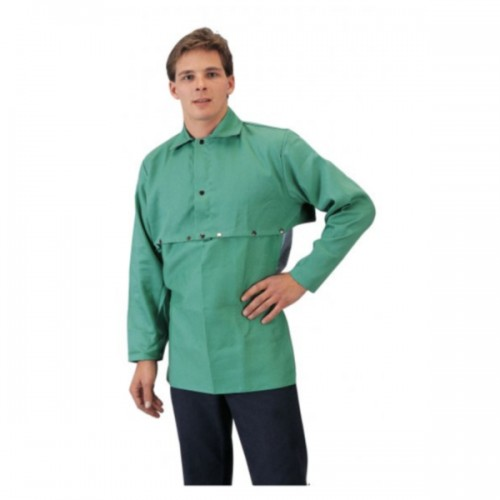 9oz Green FR Cotton Welding Cape Sleeves Small