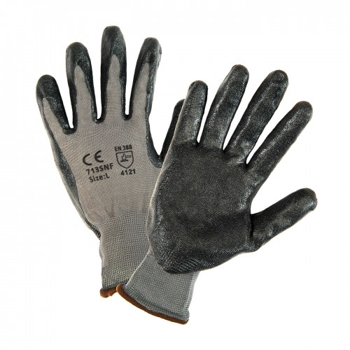 Seamless Knit Polyester Glove with Nitrile Coated Foam Grip on Palm & Fingers, Gray