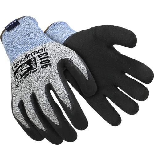 Black/Gray Sandy Nitrile Coated HPPE Blend/SuperFabric Knitwrist Palm Coated Cut Resistant Glove/Large
