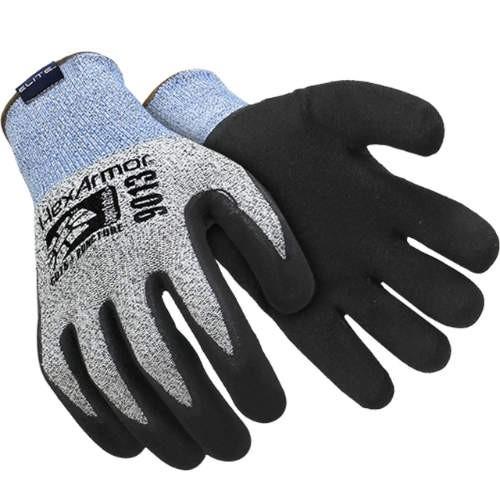 Black/Gray Sandy Nitrile Coated HPPE Blend/SuperFabric Knitwrist Palm Coated Cut Resistant Glove/Medium