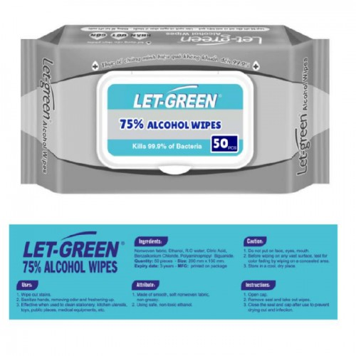 LET-GREEN 75% Alcohol Wipes, 50 wipes per pack, 36 packs/box