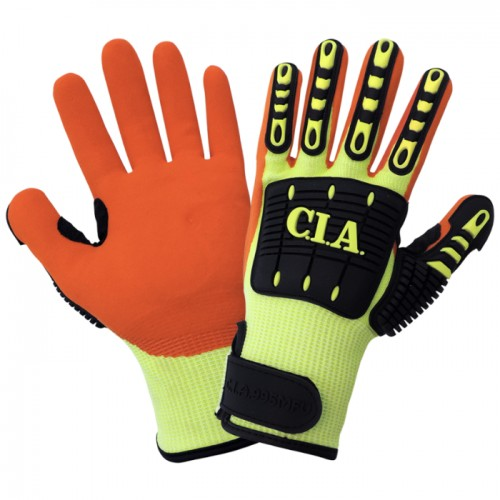 Cut and Impact Resistant Mach Finish Nitrile-Dipped Palm High-Visibility Gloves, 7 (Small)