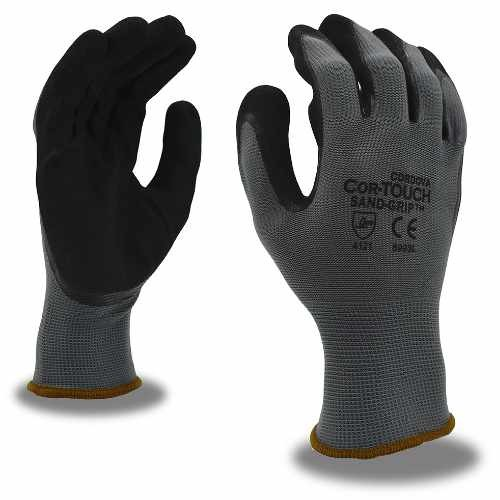 COR-TOUCH SAND-GRIP, Nitrile: #6993 Glove, 13 Gauge, Polyester Shell, Palm Coating, Small