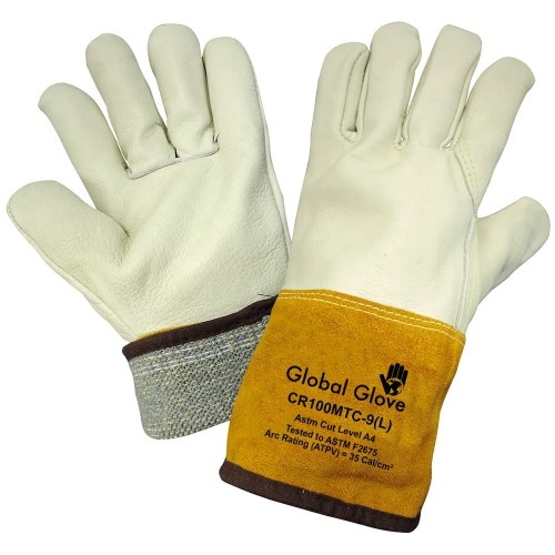 Leather Welding Work Gloves Cow Grain Leather, Cuff Lined and Sewn with ARX Cut Resistant Material, 7 (Small)