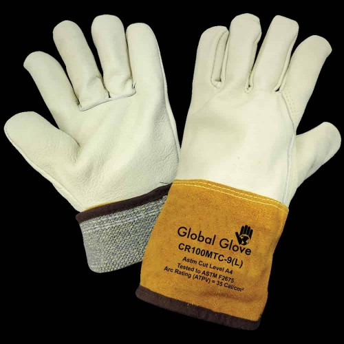 Leather Welding Work Gloves Cow Grain Leather, Cuff Lined and Sewn with ARX Cut Resistant Material, 9 (Large)