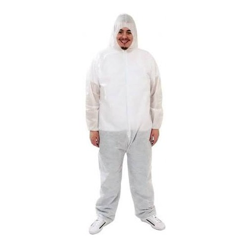 White 1.6oz PP/PE Keystone Safety Serged Seam EWA Collared Disposable Coverall Large
