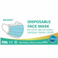 Non-woven Blue Disposable 3 Ply Face Masks 50/Pack