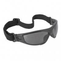 Radians Cuatro™ 4-in-1 Foam Lined Safety Glasses, Black Frame / Smoke Lens