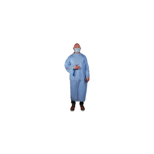 HERTGOWN T-Style Isolation Gown, LLDPE, 68 x 50, One Size Fits Most, Light Blue, 50/Carton