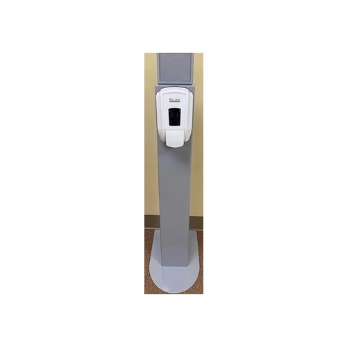 GREY HILLYARD STAND FOR DISPENSER WITH TOP ADVERTISING PANEL