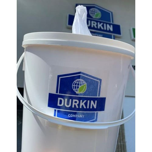 Durkin Refillable Wiper Pail, Wiper, Resealable Liner Bag, w/Center-pull lid