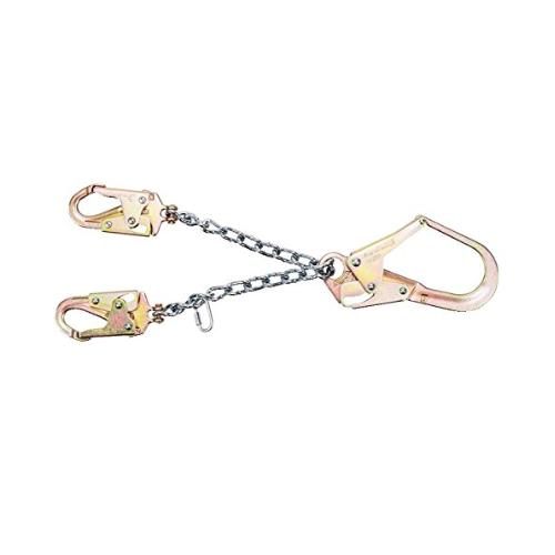 MSA 10107326 Rebar Chain Assembly Restraint Lanyard with 36CL Rebar Steel Snap Hook and (2) 36C Steel Snap Hooks