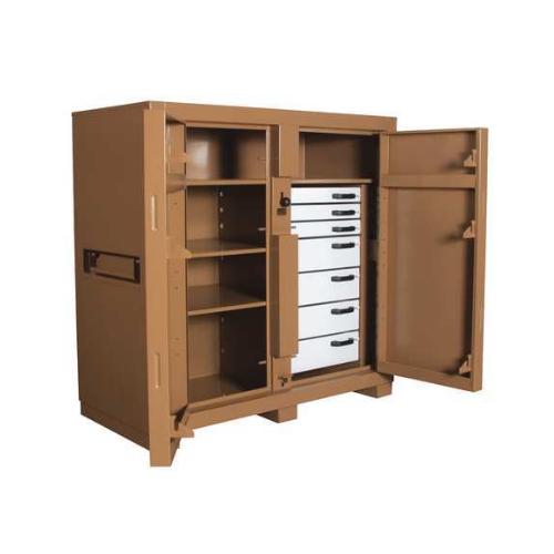 "Jobmaster Jobsite Storage Cabinet/Tool Box, 60""H x 60""W x 30""D, Tange Cabinet/Tool Box, 60""H x 60""W x 30""D, Tan"