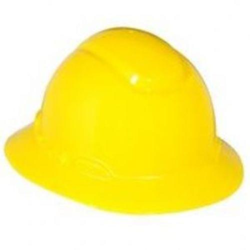 Full Brim Hard Hat, 4 pt. Ratchet Suspension, Yellow