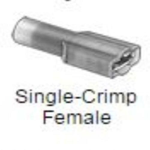 Fully Insulated Quick-Disconnect Terminals, Single Crimp Female, for 16-14 Wire Gauge