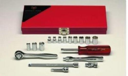 Wright Tool 1/4'' Drive, 18 Pc., 6 Pt.  Standard and 8 Pt.  Standard Socket Set
