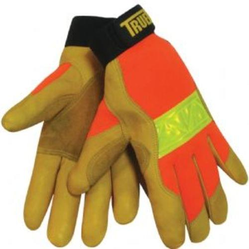 Tillman TrueFit High Vis Gloves with 3M Reflective Strip- Thicker, gold Top grain Cowhide (Large)