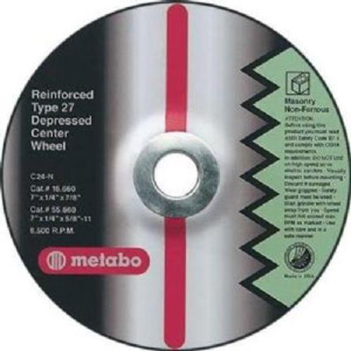 """Metabo 4-1/2 """"X1/4 """"X5/8-11, Type 27 A24T Aluminum Oxide Depressed Center Grinding Wheel (55275)"""