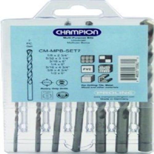 Champion Proline  7 pc Multi-Purpose Rotary Bit Set.  Includes CM-MPB-1/8, CM-MPB-5/32, CM-MPB-3/16, CM-MPB-1/4, CM-MPB-5/16, CM-MPB-3/8, CM-MPB-1/2.