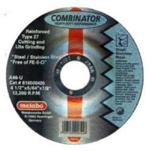 Metabo 5''X 5/64''X7/8'', Type 27 A46U Aluminum Oxide Depressed Center Cutting Wheel (Contaminent Free)