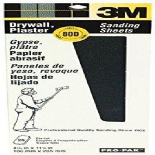 "3M 99433NA Pro-Pak Drywall Sanding Sheets, 80 Grit, 4-3/16 "" x 11-1/4 "" (25 Pack) (99433)"