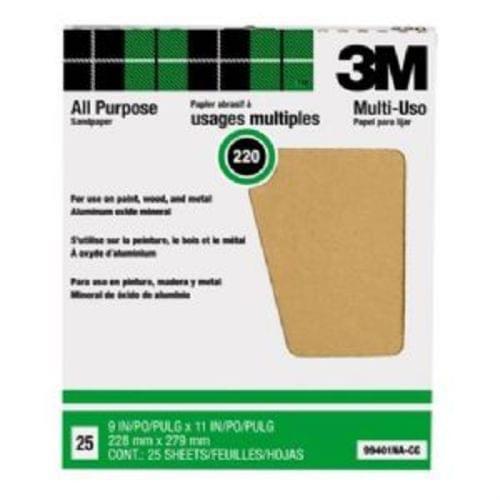 "3M Pro-Pak 99401NA-CC Aluminum Oxide Sandpaper Sheets 9 ""x11 "", 220 Grit, for Paint   Rust Removal, 25-Pack (99401)"