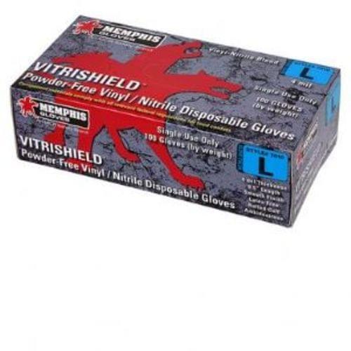 VitriShield, Blue Nitrile/Vinyl Blend Gloves, 4 mil - X - Large