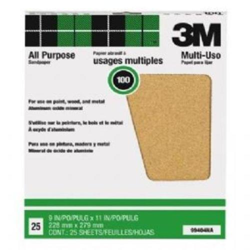 "3M 8482; Pro-Pak 8482; 99404NA 9 ""x11 "", 100 Grit, Aluminum Oxide Sandpaper Sheets for Paint  38; Rust Removal, 25-Pack (99404)"