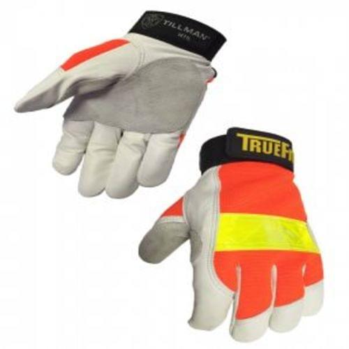 Tillman TrueFit Goatskin High Vis Orange Gloves with 3M Reflective Strip (Medium)