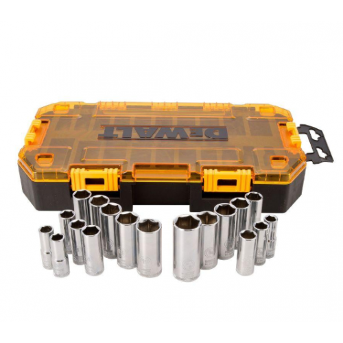DEWALT 3/8 in. Drive Deep Combination Socket Set with Case (20-Piece)