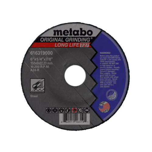 """Metabo 4-1/2 """"X1/4 """"X5/8-11, Type 27 A24R Aluminum Oxide General Purpose Depressed Center Grinding Wheel (55307)"""