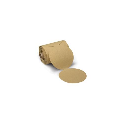 Sanding Disc - 5 in Disc Diameter, Aluminum Oxide Abrasive Material, Paper Backing Material, P150 Grit, Gold Color