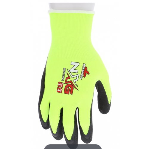 MCR Safety NXG Hi-Vis 13 Gauge Yellow Hi-Visibility Black Foam Latex Coated- Size XLarge