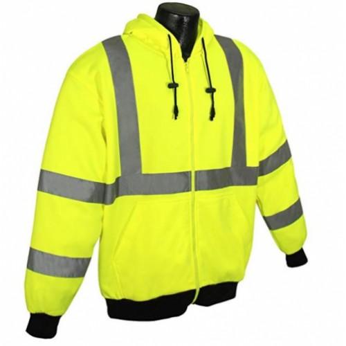 Radians SJ01-3ZGS-2XL Class 3 Level 2 Long Sleeve Hooded Sweatshirt with Elastic Knit, Size 2XL
