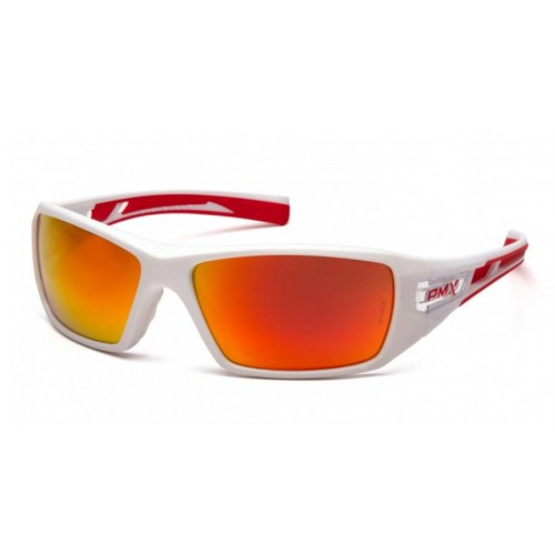 Pyramex SWR10455D Sky Red Mirror Lens with White and Red Frame