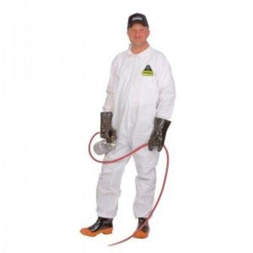 DEFENDER WHITE MICROPOROUS COVERALL, ZIPPER FRONT AND COLLAR, OPEN WRISTS & ANKLES, NO ELASTIC