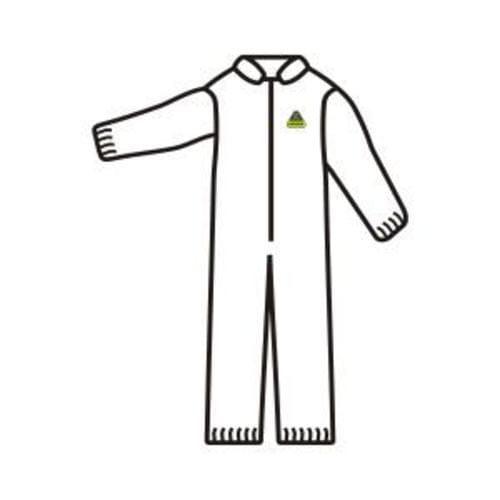 DEFENDER WHITE MICROPOROUS COVERALL, ZIPPER FRONT AND COLLAR, ELASTIC WRISTS AND ANKLES