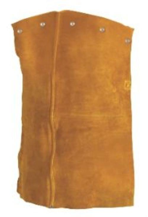 LEATHER COWHIDE  Bourbon brown premium side split cowhide 20inch length. Heavy duty cotton strap with adjustable side release buckle for easy on/off. Attaches to Tillman 3221 cape sleeve