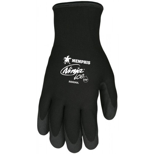 Memphis Glove Ninja Ice Gloves, Acrylic, Nylon, HPT Size Small 15 gauge (7 gauge liner) Black HPT (Palms and Fingertips)