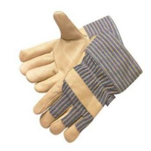 Premium grain pigskin leather gunn pattern work glove, leather palm, finger tips & knuckle strap, 3M Thinsulate lined, blue-striped back & 3 inch   plasticized cuff, available sizes L & XL