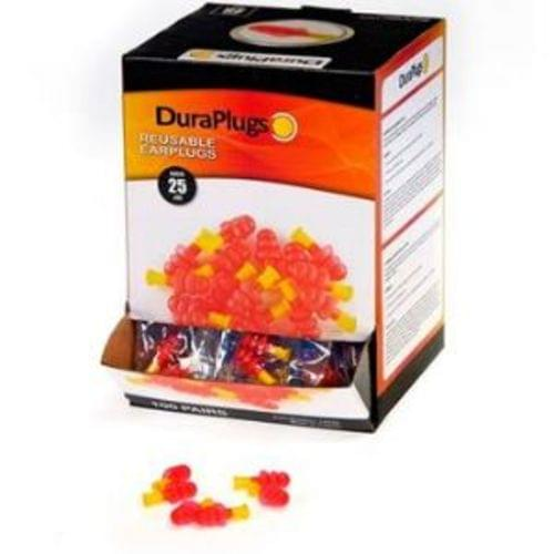 Dura Plug Reuseable HiVis Earplug w/4-Layer Flange, NRR 25db, 100 Pair