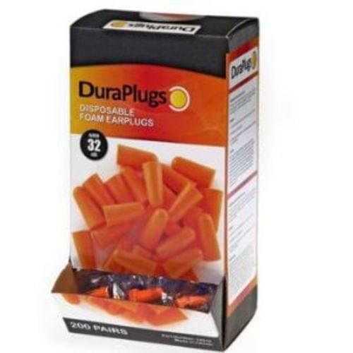 Duraplug Orange Foam Earplugs, No Cord, 200 pair