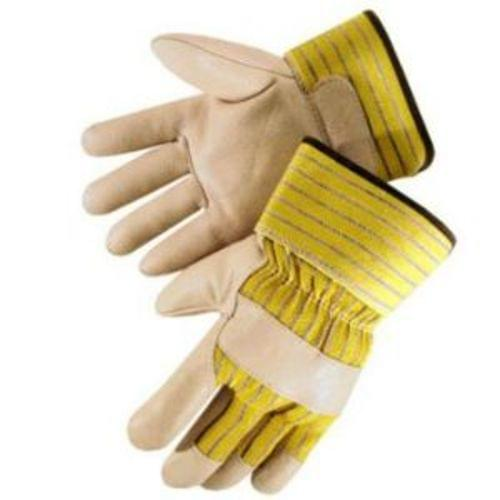 Quality grain pigskin leather gunn pattern work glove, leather palm, finger tips & knuckle strap,  yellow striped back & 2-1/2 inch   rubberized safety cuff, size L
