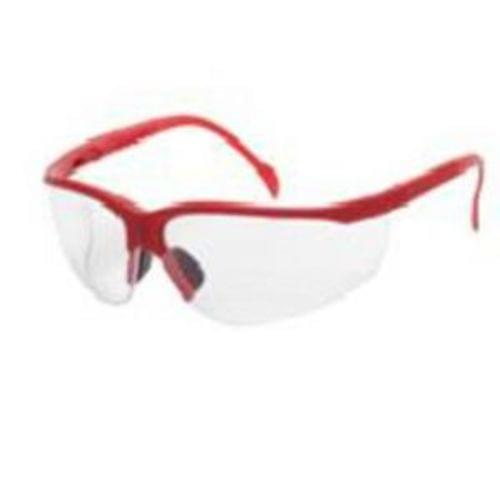 MAGNUM Safety glasses red frame, clear lens - soft rubber nose buds - adjustable temples, 12 pair per box