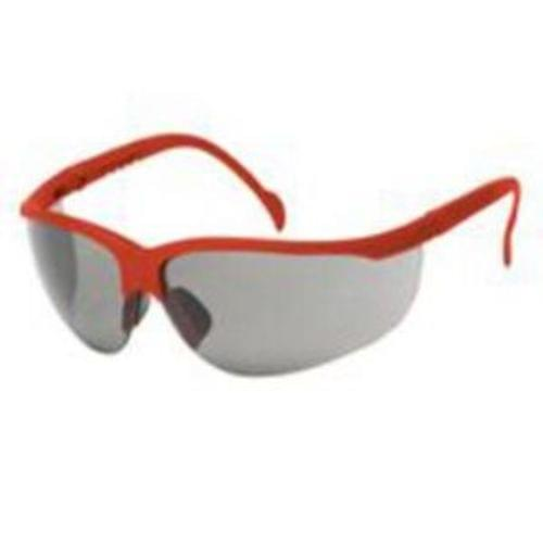 MAGNUM Safety glasses red frame, gray lens - soft rubber nose buds - adjustable temples, 12 pair per box