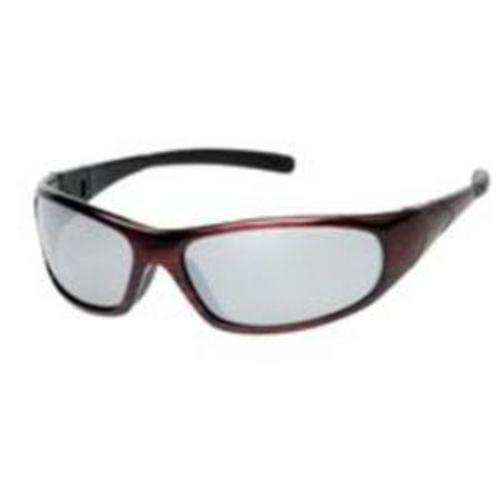 CYCLONE Safety glasses red frame - silver mirror lens - rubber tips, 12 pair per box